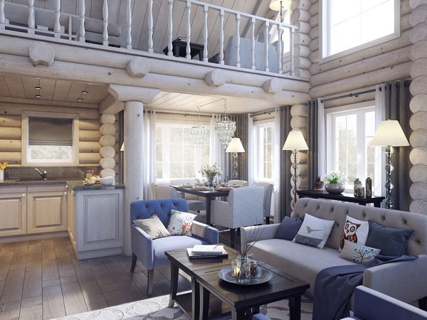 3-wooden-log-timber-house-interior-light-gray-blue-walls-open-to-below-second-floor-plan-skylights-living-room-kitchen