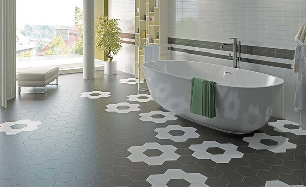30-unusual-geometrical-pattern-gray-and-white-hexagonal-floor-tiles-in-bathroom-interior-design-flowers