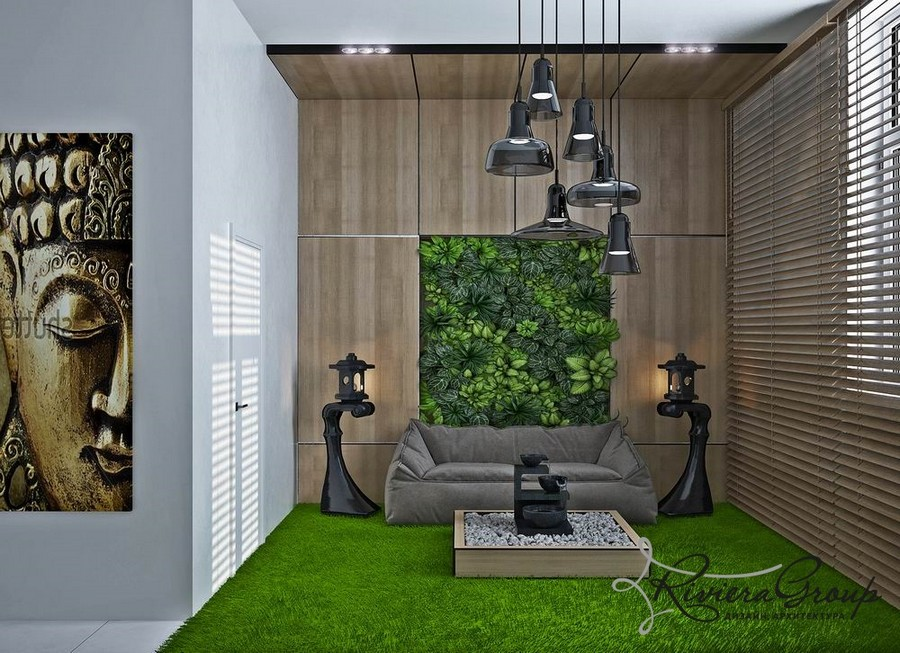 4-1-eco-style-office-interior-design-project-render-bright-green-shaggy-carpet-street-Japanese-lanterns-black-pendant-lamps-soft-gray-sofa-faux-wooden-panels-Venetian-blinds