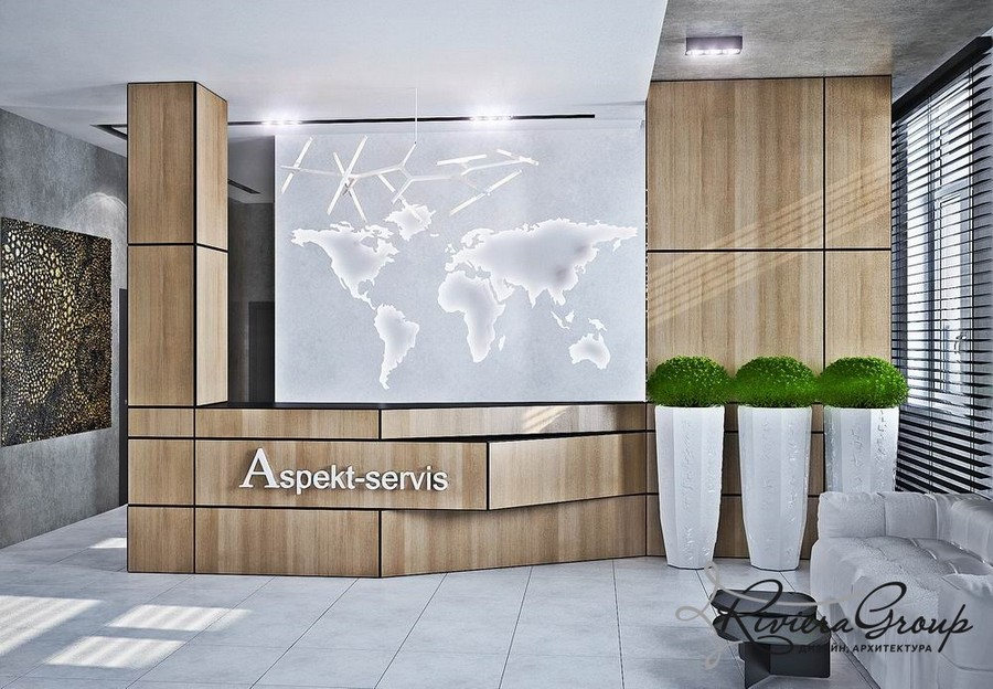 4-2-eco-style-office-interior-design-project-render-faux-wooden-panels-reception-desk-potted-plants-world-map-white-floor