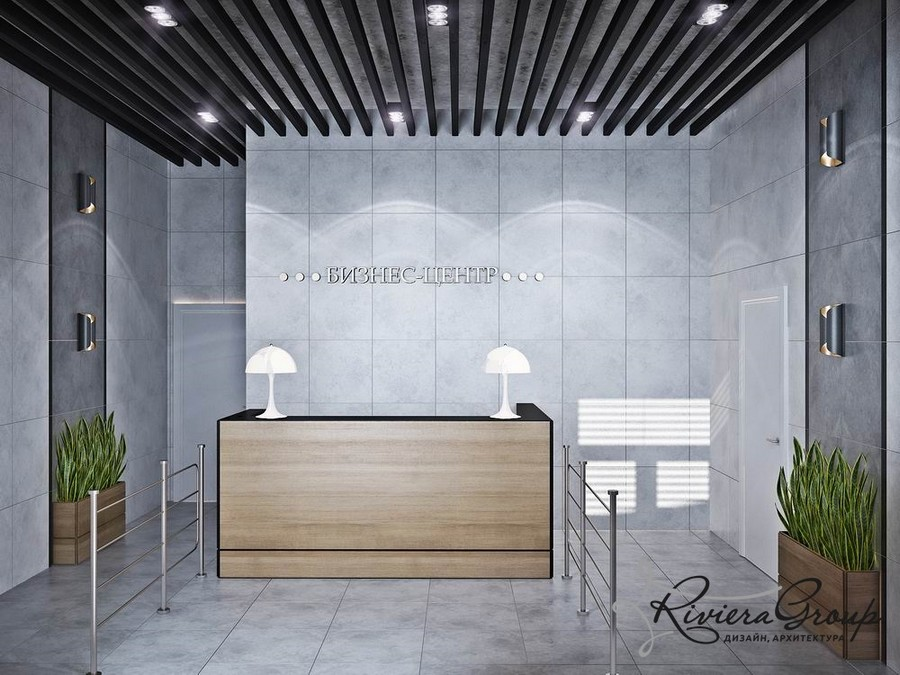 4-3-eco-style-office-interior-design-project-render-gray-black-white-reception-desk-lamps-potted-plants