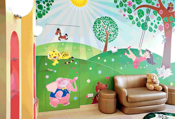 4-bright-narrow-toddler-kid's-girl's-bedroom-playroom-room-interior-design-wall-painting-mezzanine-floor-magical-castle-invisible-door