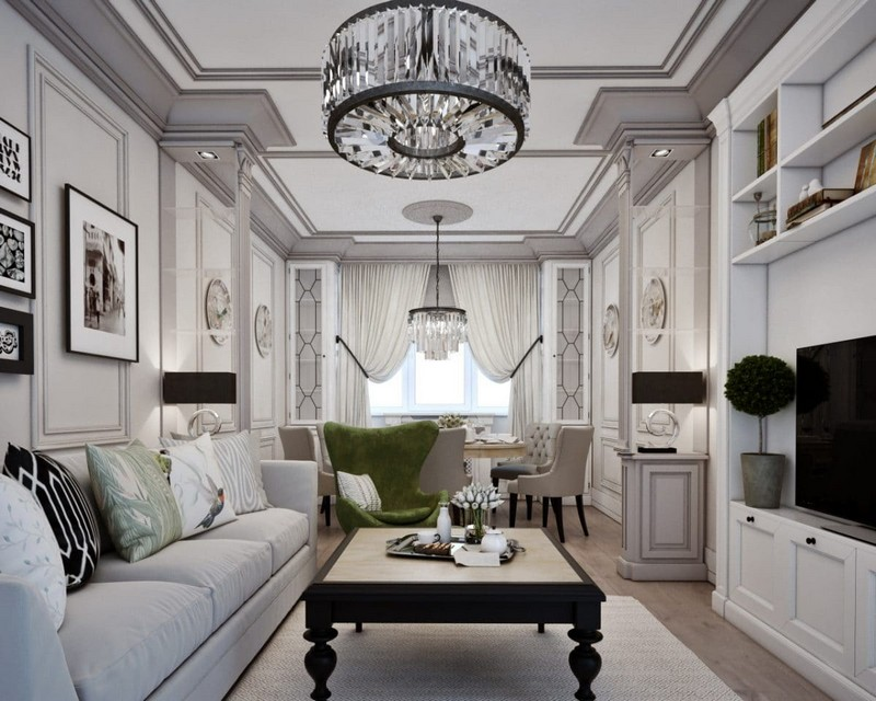 4-elegant-luxurious-light-gray-and-beige-pastel-neo-classical-interior-design-crown-moldings-crystal-chandelier-fornasetti-plates-dining-living-room-set
