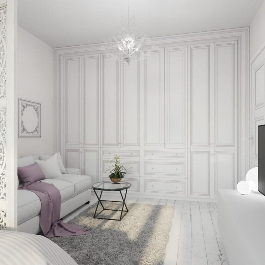 4-light-and-airy-pastel-white-and-lilac-interior-design-living-room-IKEA-folding-sofa-glass-table-orchid-wall-to-wall-built-in-closet-neo-classical-style