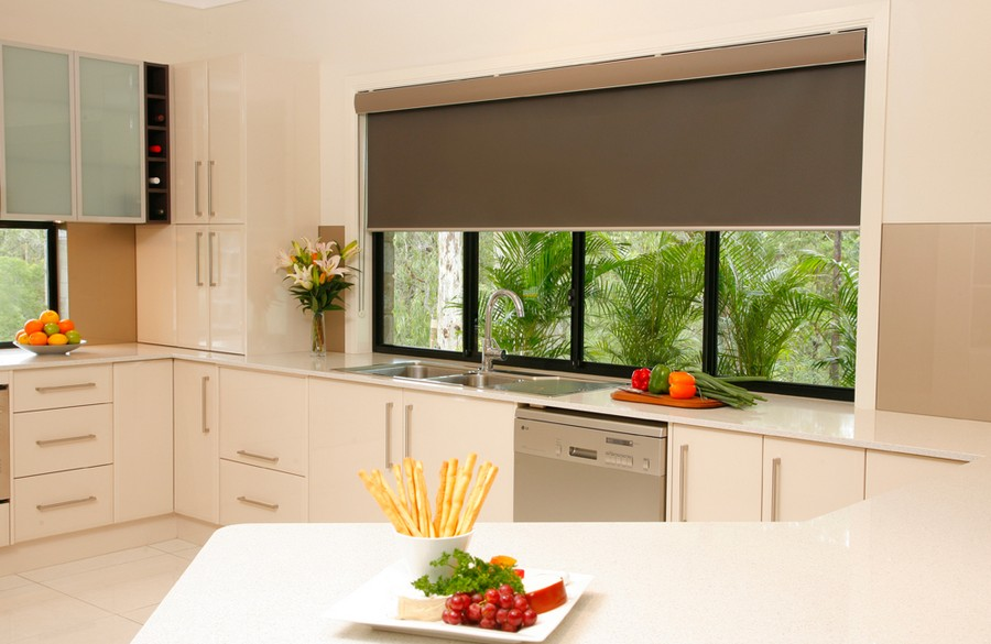 Perfect  roller blinds in kitchen interior design window