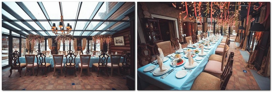 5-1-Russia-Seneshal-luxurious-hotel-interior-design-timber-house-Provence-classical-style-dining-room-blue-and-brown-turquoise-table-linen