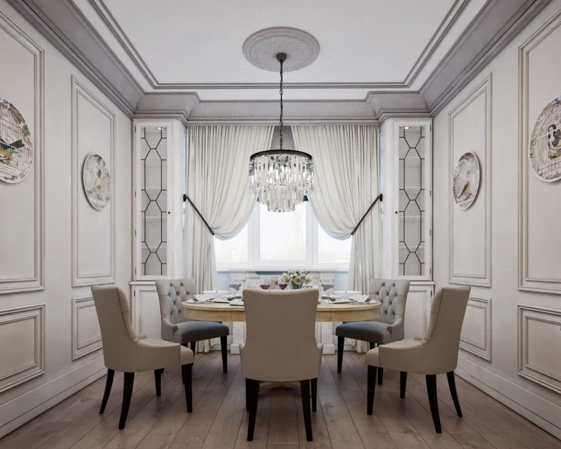 5-3-elegant-luxurious-light-gray-and-beige-pastel-neo-classical-interior-design-crown-moldings-crystal-chandelier-fornasetti-plates-dining-room-set