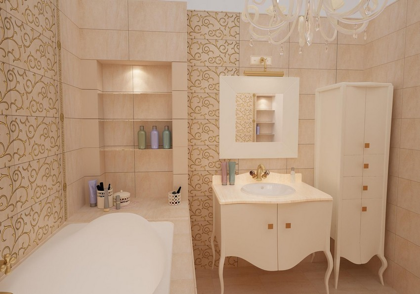 5-beige-and-white-neoclassical-bathroom-interior-design-wash-basin-cabinet-mirror-shelves-ceramic-tiles-chandelier