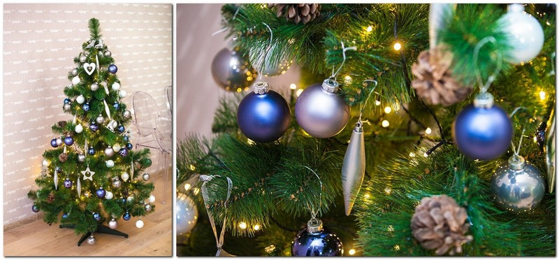 5-classical-decorated-small-Christmas-tree-silver-blue-green