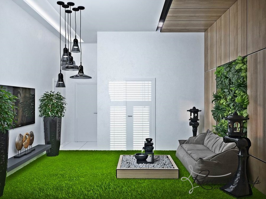 5-eco-style-office-interior-design-project-render-bright-green-shaggy-carpet-street-Japanese-lanterns-black-pendant-lamps-soft-gray-sofa-faux-wooden-panels