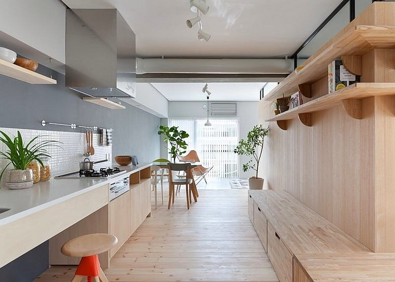 5-totally-wooden-apartment-with-unusual-L-shaped-layout-open-concept-wooden-floor-walls-furniture-kitchen-living-room-concrete-ceiling-without-doors