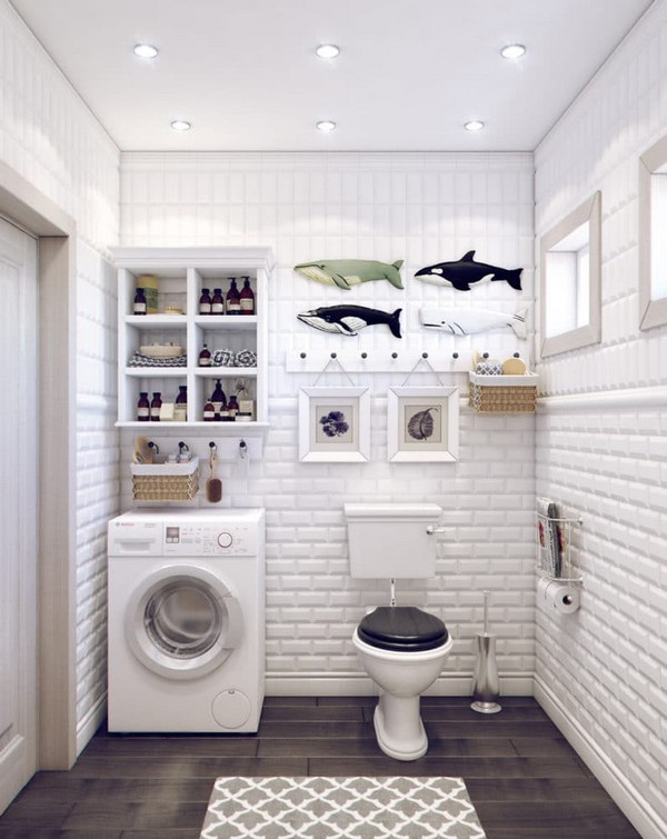 5-white-bathroom-interior-white-brick-tiles-with-beveled-edges-faux-wood-ceramic-floor-tiles-fish-wall-decor-retro-toilet-bowl-tank-washing-machine