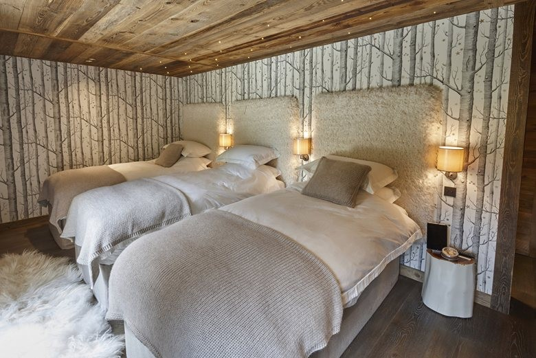 6-contemporary-chalet-style-interior-design-bedroom-three-bed-fur-headboard-birch-tree-wall-maural-wallpaper
