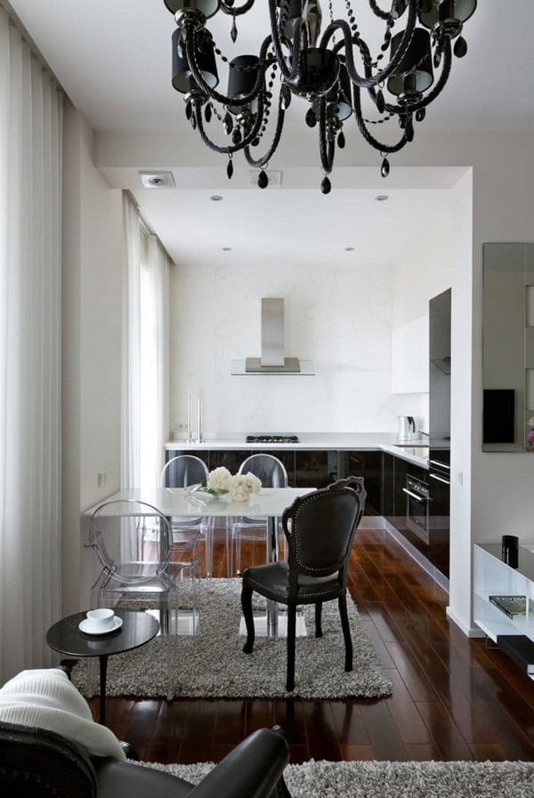 Kitchen And Living Room Interior Design: Can A Black & White Apartment Be Cozy?