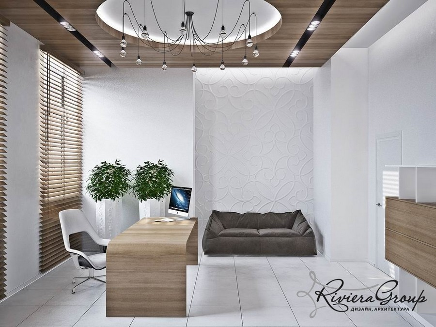 6-eco-style-office-interior-design-project-render-white-and-gray-faux-wooden-panels-soft-sofa-rounded-desk-potted-indoor-plants-loft-wire-lamp