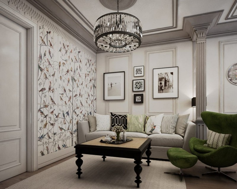 6-elegant-luxurious-light-gray-and-beige-pastel-neo-classical-interior-design-crown-moldings-crystal-chandelier-fornasetti-wallpaper-living-room-set