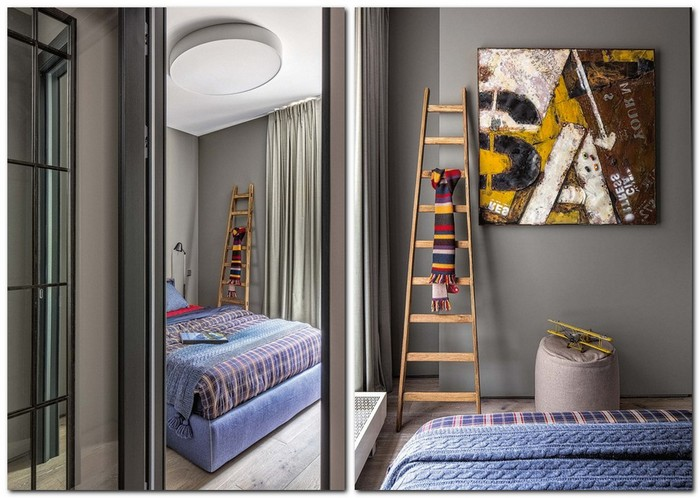 6-gray-loft-style-bachelor's-apartment-interior-design-bedroom-blue-bedspread-gray-curtains-metal-artwork-a-la-grange-stairs-hanging-clothes
