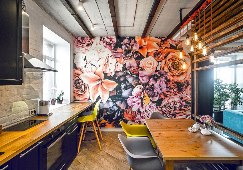 6-mixed-style-brutal-loft-pop-art-eco-style-apartment-interior-design-ceiling-faux-brick-backsplash-open-wiring-wooden-planks-open-plan-living-room-kitchen-dining-room-floral-wall-mural-wooden-worktop-mismatched-chair