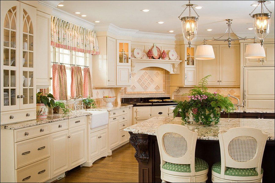 Fabulous  cafe style curtains in kitchen interior
