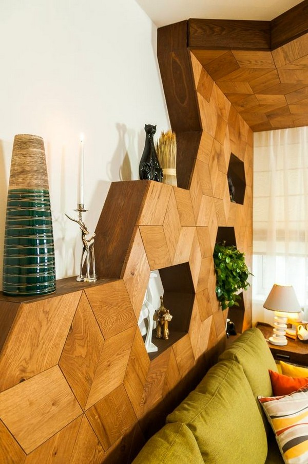 7-bright-green-yellow-brown-dining-living-room-interior-design-3D-wooden-wall-decor-panels-olive-sofa-figurines