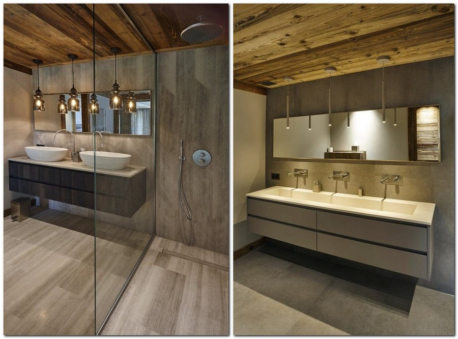 7-contemporary-chalet-style-interior-design-bathroom-gray-faux-wood-ceramic-granite-tiles-wooden-ceiling-pendant-lamps