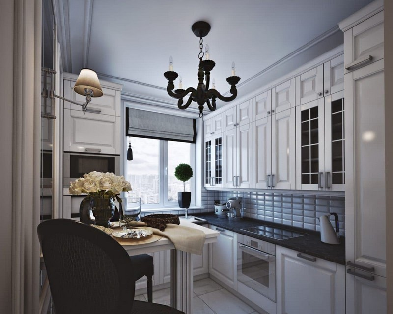 7-elegant-luxurious-light-gray-and-beige-pastel-neo-classical-small-kitchen-interior-design-crown-moldings-black-chandelier-Roman-blinds-bar-stools