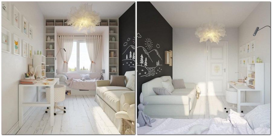 7-light-and-airy-pastel-white-and-lilac-interior-design-girl's-bedroom-toddler-room-traditional-style-chalkboard-wall-desk-bed-near-the-window-IKEA-ceiling-lamp