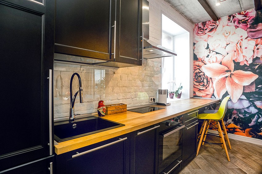 7-mixed-style-brutal-loft-pop-art-eco-style-apartment-interior-design-ceiling-faux-brick-backsplash-open-wiring-wooden-planks-open-plan-living-room-kitchen-dining-room-floral-wall-mural-wooden-worktop-bar-stools