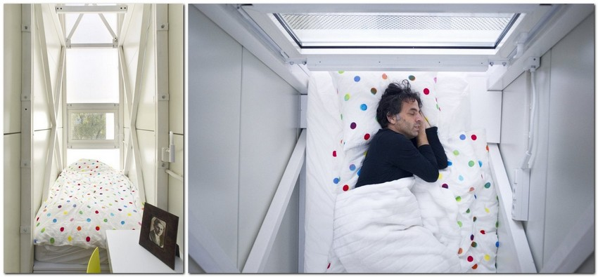7-world's-narrowest-houses-centrala-studio-Keret-house-Warsaw-Poland-narrow-room-bedroom-interior-design-skylight-unusual-architecture