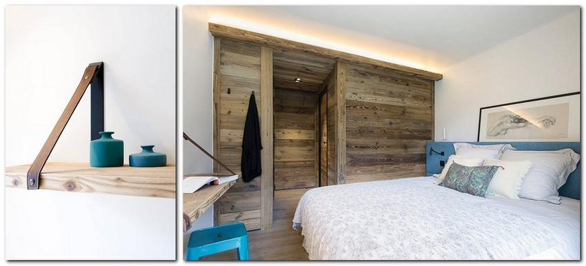 8-chalet-style-interior-design-stone-wood-white-and-turquoise-accents-headboard-unusual-hand-made-shelf-wooden-closet