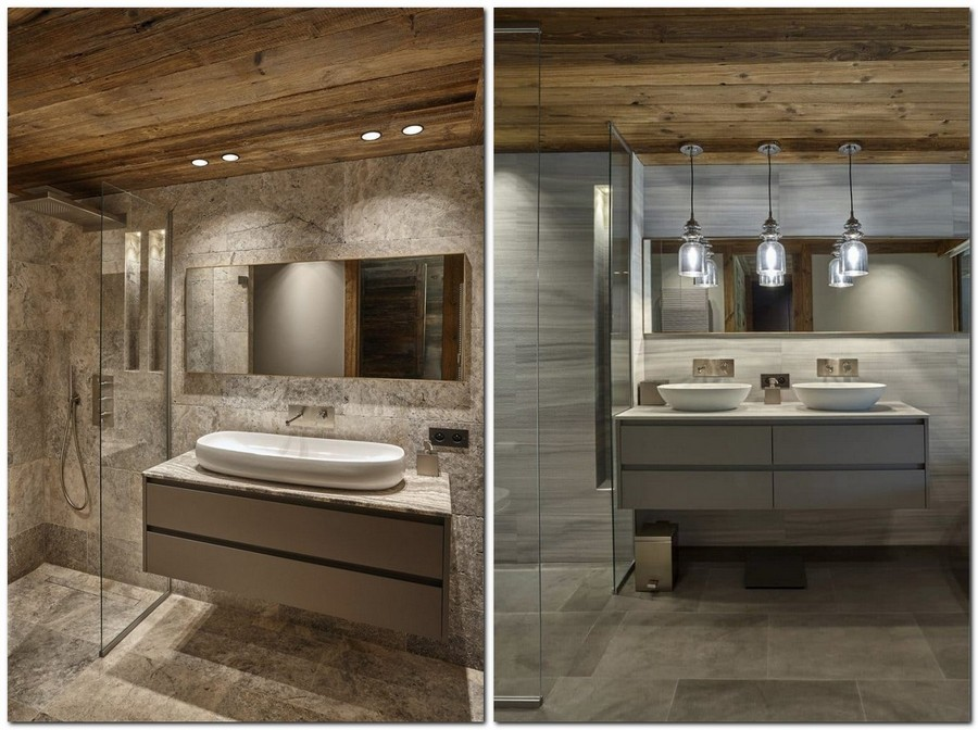 8-contemporary-chalet-style-interior-design-bathroom-gray-faux-wood-ceramic-granite-tiles-wooden-ceiling-pendant-lamps
