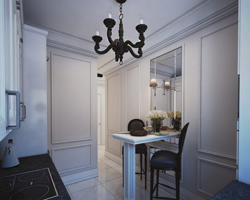 8-elegant-luxurious-light-gray-and-beige-pastel-neo-classical-kitchen-interior-design-crown-moldings-black-chandelier-bar-stools-small-table