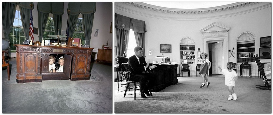 9-John-Kennedy-Caroline-Kerry-children-visit-the-Oval-Office-White-House-interior-design-neo-classical-style