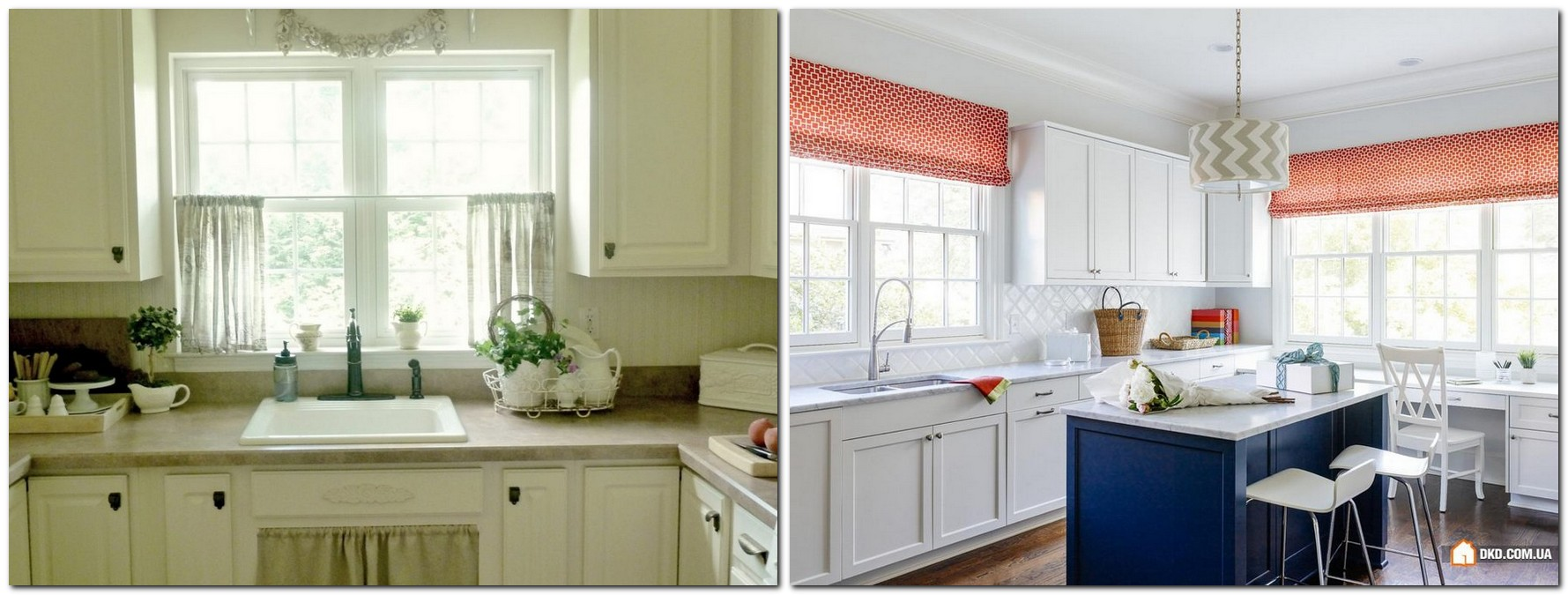 Popular  cafe style curtains white red in kitchen