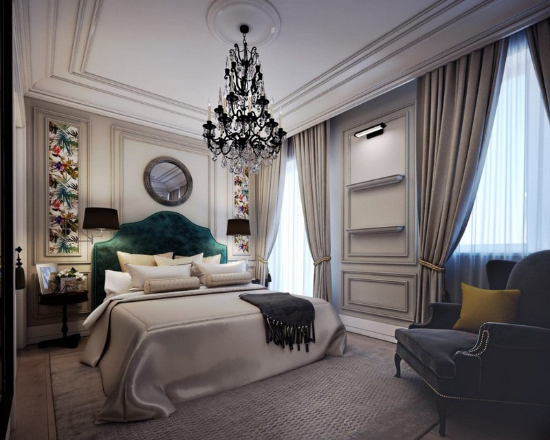 9-elegant-luxurious-light-gray-and-beige-pastel-neo-classical-bedroom-interior-design-crown-moldings-crystal-chandelier-green-kale-velvet-arm-chair-headboard