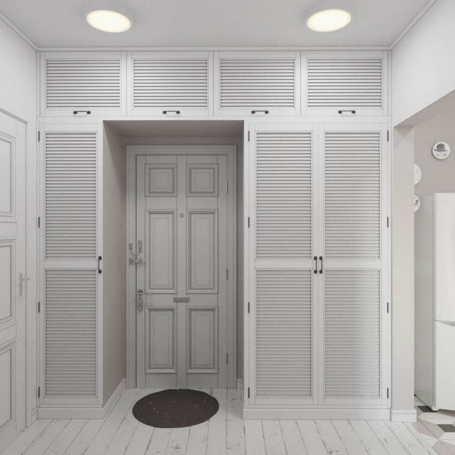 9-light-and-airy-pastel-white-and-lilac-interior-design-entry-room-traditional-classical-style-large-built-in-wall-to-wall-closet-with-louvered-doors