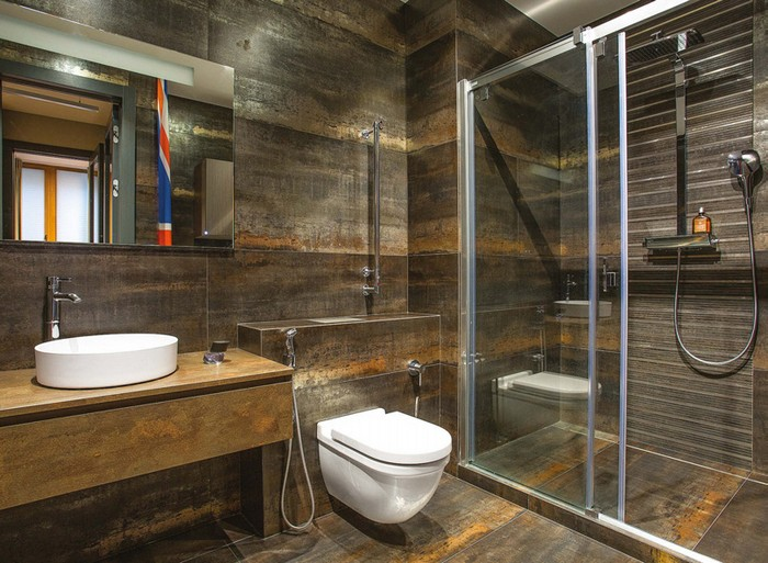 9-loft-style-bachelor's-apartment-bathroom-interior-design-faux-rusty-metal-ceramic-granite-tiles-shower-cabin-glass-doors