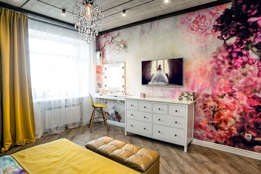 9-mixed-style-brutal-loft-pop-art-eco-style-apartment-bedroom-interior-design-concrete-ceiling-faux-concrete-walls-open-wiring-floral-wall-mural-roses-white-chest-of-drawers-dressing-table