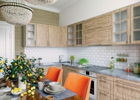 0-American-contemporary-style-kitchen-interior-design-classical-beads-chandelier-dining-table-beige-blue-orange-chairs-brick-tiles-backsplash-naturalistic-cabinets-MDF-set-jute-texture-wallpaper