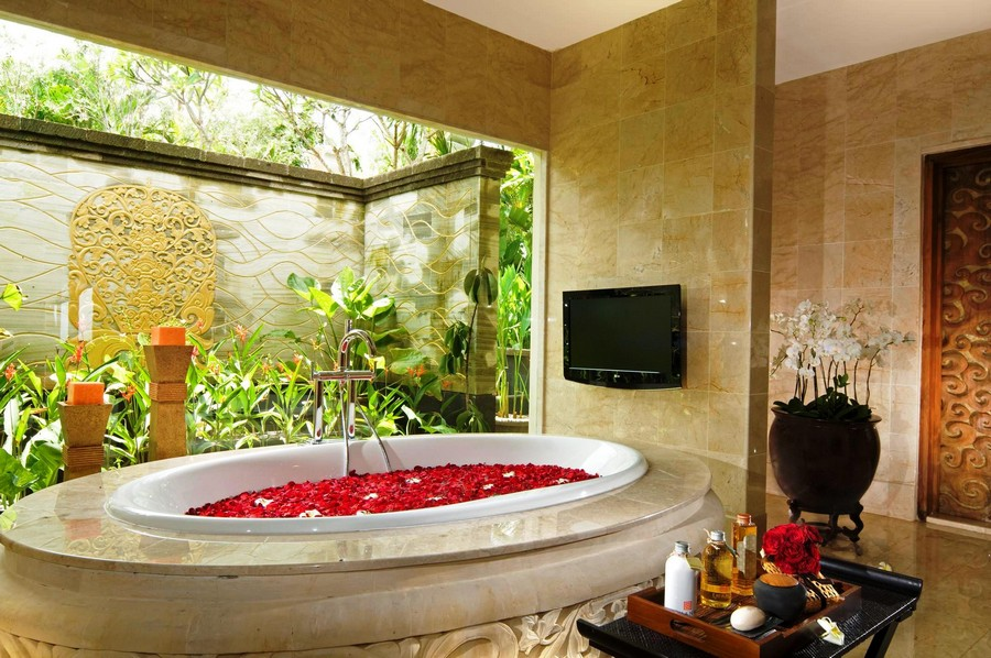 Elegant  TV set in bathroom interior design beige
