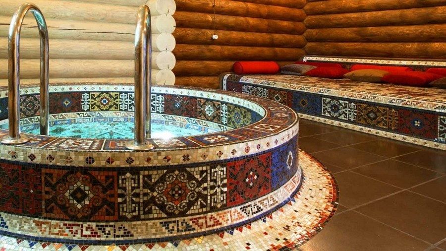 0-Turkish-style-bathhouse-sauna-faced-with-mosaic-tiles-bath-swimming-pool-stove-bench