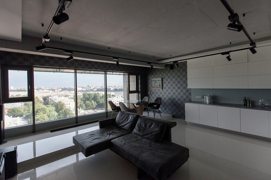 Bachelor s apartment with podiums panoramic windows for Living room designs for bachelors