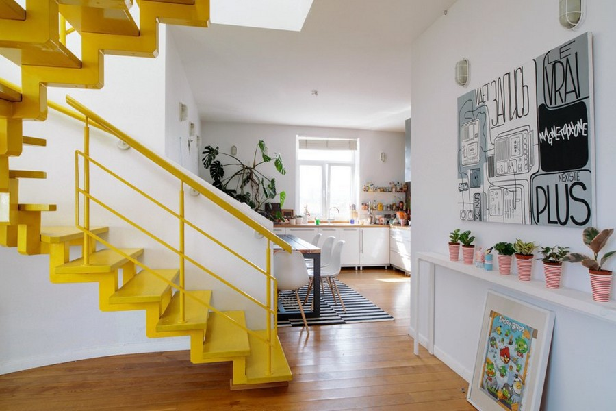 0-eclectic-style-corridor-interior-design-white-walls-bright-accents-many-potted-indoor-plants-yellow-staircase-wall-lanterns