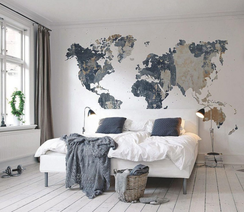 Simple  interesting original wall decor ideas world map