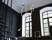 Tiny Monochrome Black-Walled Apartment with Mezzanine Floor