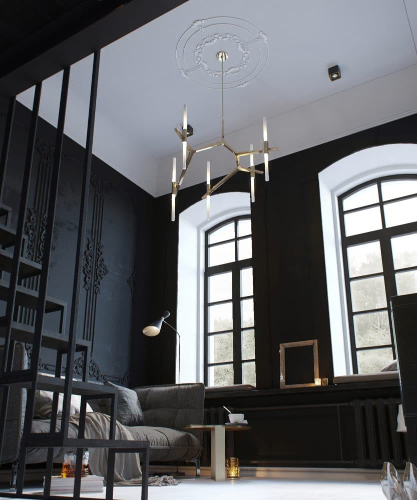 Tiny monochrome black walled apartment with mezzanine Tall ceilings interior design