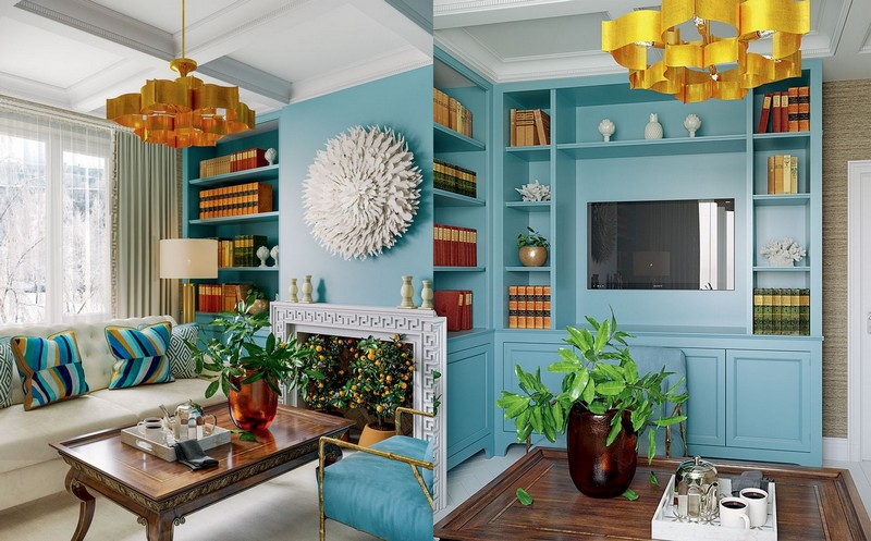 1-2-blue-orange-beige-American-contemporary-style-living-room-interior-design-with-art-deco-chandelier-faux-plasterboard-fireplace-potted-tangerine-trees-caissons-ceiling-recesses-sheving-units-sofa-arm-chair