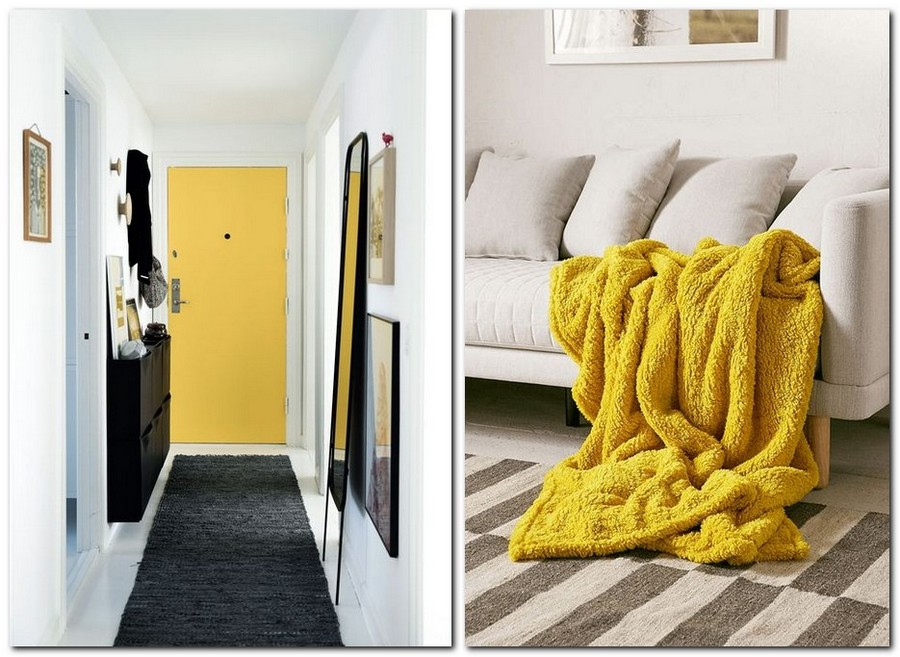 1-Primrose-Yellow-color-pantone-2017-in-interior-design-door-entry-room-blanket-white-and-gray-sofa-carpet