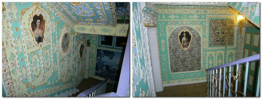 1-Rococo-style-common-stair-design-Kyiv-portraits-plaster-moldings-gold-plated-wall-decor