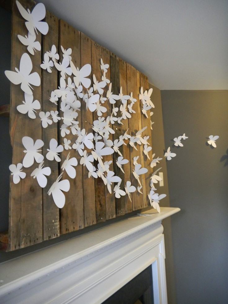 1-butterfly-wall-art-decor-ideas-white-paper-on-mantelpiece-fireplace